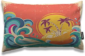 AOYEGO Hawaii Beach Throw Pillow Cover 12x20 Inch Vintage Palm Tree Sun Tropical Island Giant Wave Rectangle Pillow Cases Home Decorative Cotton Linen Cushion Cover for Bed Sofa