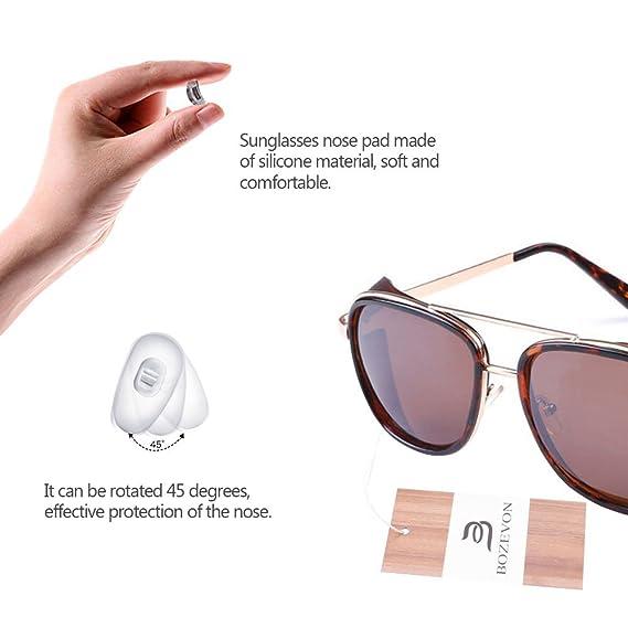 BOZEVON Cru Lunettes de lunette miroir Lunettes de soleil Steampunk Unisexe pour femmes et hommes Noir-Vert grV3q8BnX