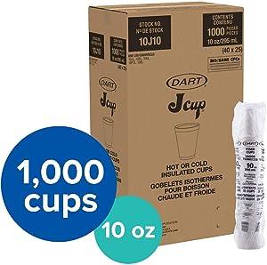 Dart DRC10J10 Styrofoam Insulated Foam Cups, 10 oz (Pack of 25), DCC10J10CT, White