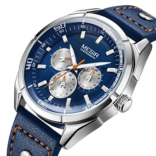 MEGIR Luxury Quartz Sport Watches Leather Band 24-Hour Week Calendar Wrist Watch for Men(Blue)