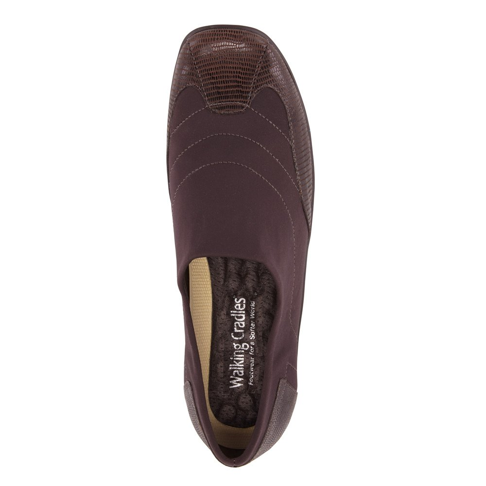 Walking Cradles Women's E Almond Flat B01BNE42XW 9 E Women's US|Brown Stretch/Brown Patent Lizard 2a7cf0