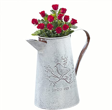 White Zinc Watering Can with Silver Rim x 12cm Metal Flower Plant Vase Pot