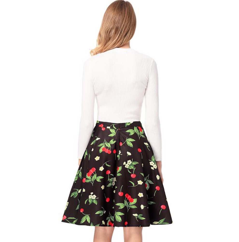 Onfly Falda floral falda acampanada falda Sweet Cherry impresión A ...