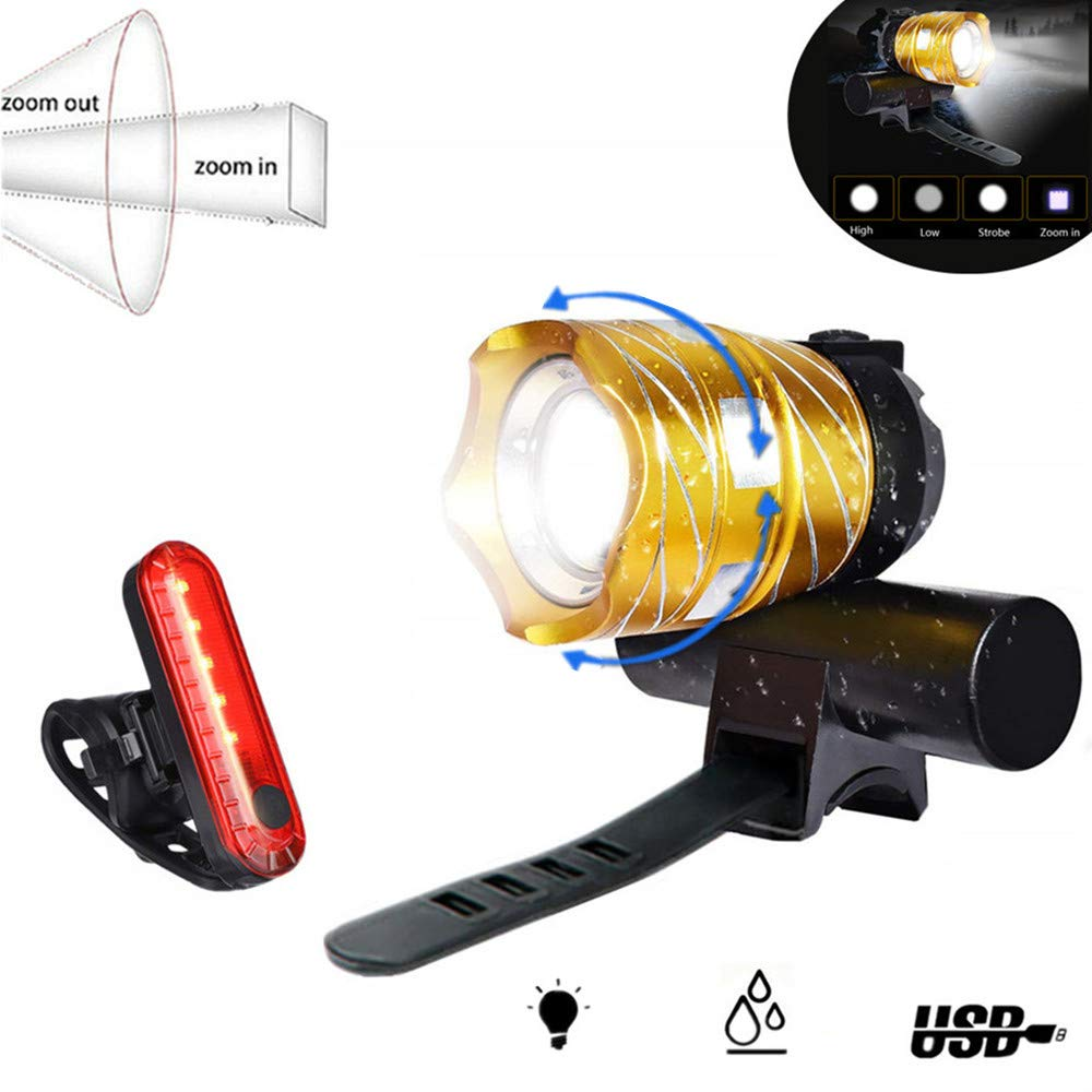 Nestling USB Rechargeable LED Bike Light Set 1200 Lumen Bicycle Headlight Cree