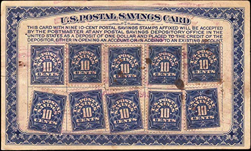 United States Scott PS5 10c Postal Savings on Card with 10 PS4 on U.S. Postal Savings Card. Used.