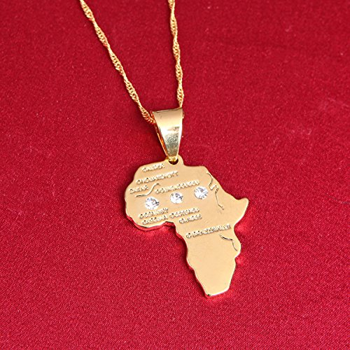 24K Gold Plated African Map Pendant Necklace Jewelry for Women