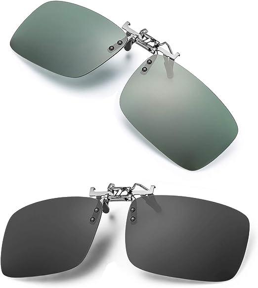 Polarized Clip-on Sunglasses Flip Up Over Prescription Glasses For Driving