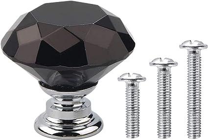 Base en argent Diamant en verre cristal noir 30mm Vandicka 20 x Poign/ée Bouton de Porte Placard Meuble Tiroir