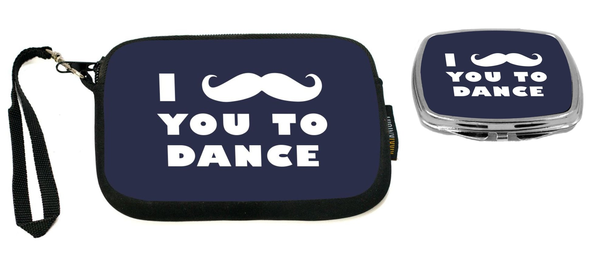 Rikki Knight I Mustache You To Dance Blue Color Design Neoprene Clutch Wristlet with Matching Square Compact Mirror