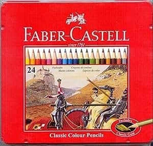 Faber Castell 115845 - Estuche de metal con 24 lápices de colores forma hexagonal, lápices escolares, multicolor