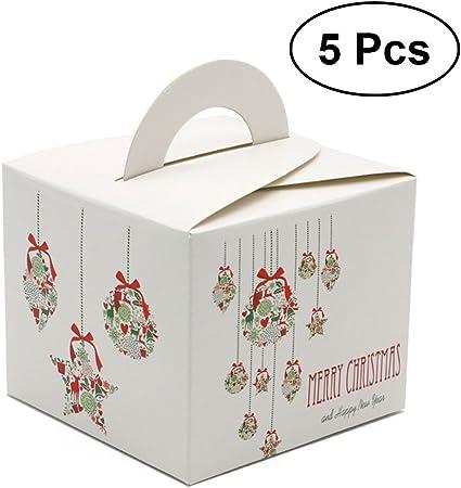 Tinksky Navidad Regalo caja de cartón para dulces cajas con mango ...
