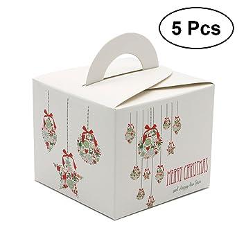 BESTOYARD 5pcs Cajas de Dulces de Navidad portátiles para niños contenedores de Regalo con manija Favor de Fiesta de Navidad: Amazon.es: Hogar
