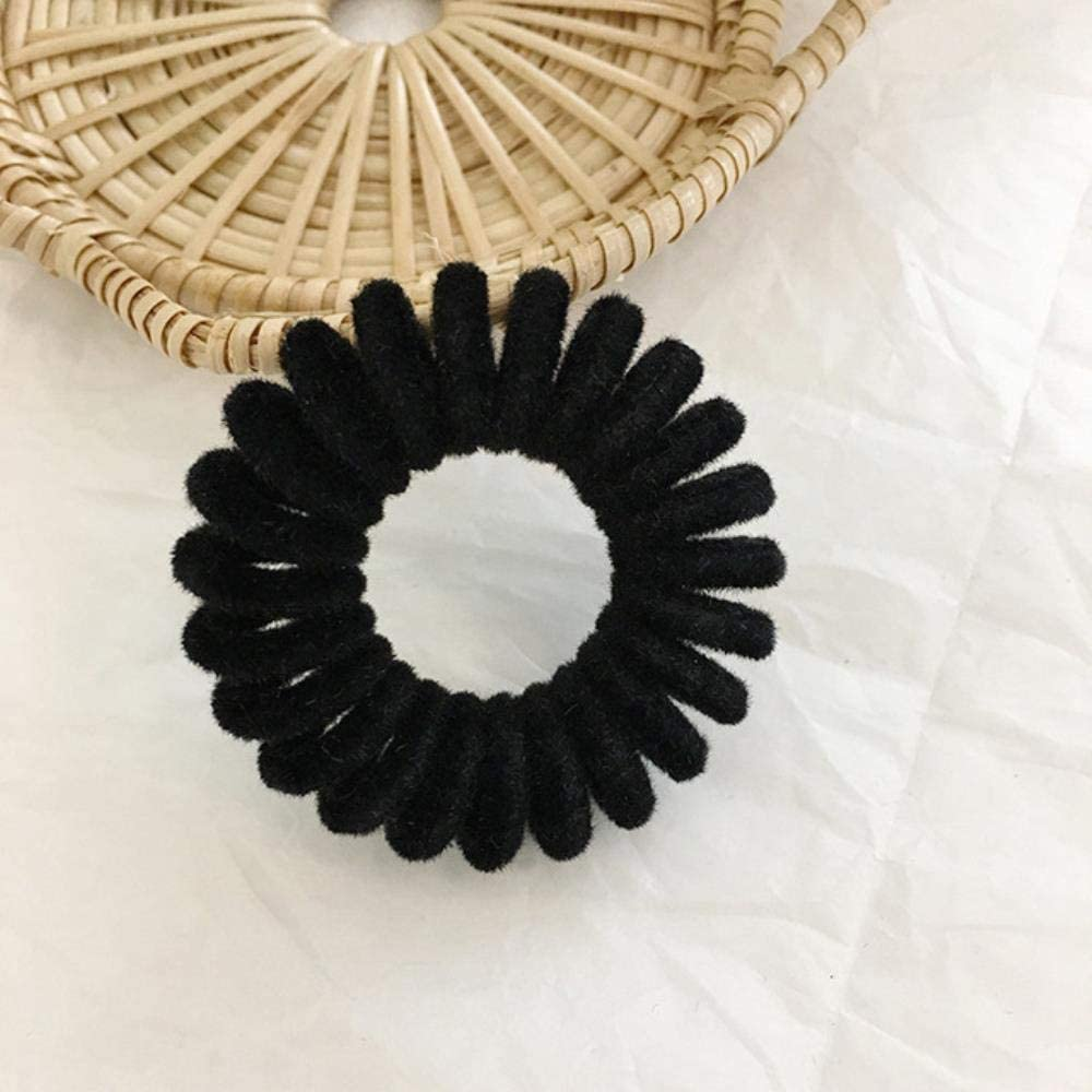 Linzx Elastic Hair Bands Velvet Spiral Shape Ponytail Holders Hair Ties Gum Rubber Band Hair Rope Telephone Wire Hair Accessories Black Amazon Co Uk Kitchen Home