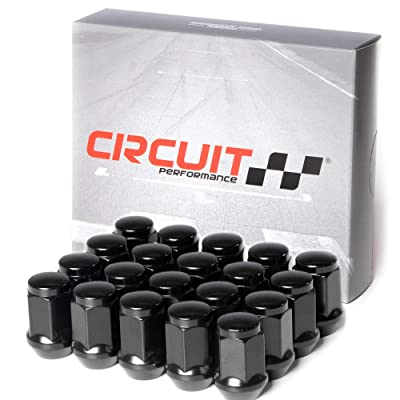 Circuit Performance 12x1.5 Black Closed End Bulge Acorn Lug Nuts Cone Seat Forged Steel (20 Pieces): Automotive