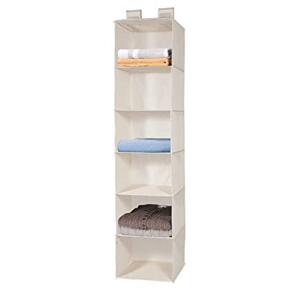 MaidMAX 903015 6 Tiers Hanging Shelves Closet Organizer With 2 Widen  Straps, Foldable, Beige