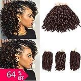 (US) BeautyGrace Marlybob Braiding Hair Crochet 3 Bundles/Pack Kanekalon Synthetic Hair Extension (8'', Deep Brown)