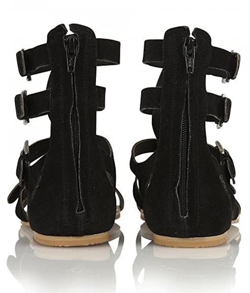 7870fa11023 RAVEL Los Angeles- Womens Black Genuine Suede Gladiator High Ankle Flat  Sandals Roman Shoes size 8  Amazon.co.uk  Shoes   Bags