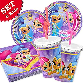 Shimmer And Shine Birthday Decoration Set 52 Pieces For Girls