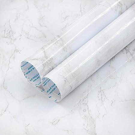 TOTIO Papel pintado de m/ármol blanco para encimeras papel de contacto de granito autoadhesivo para muebles de cocina impermeable a prueba de aceite pegatinas de pared azulejos pegatinas