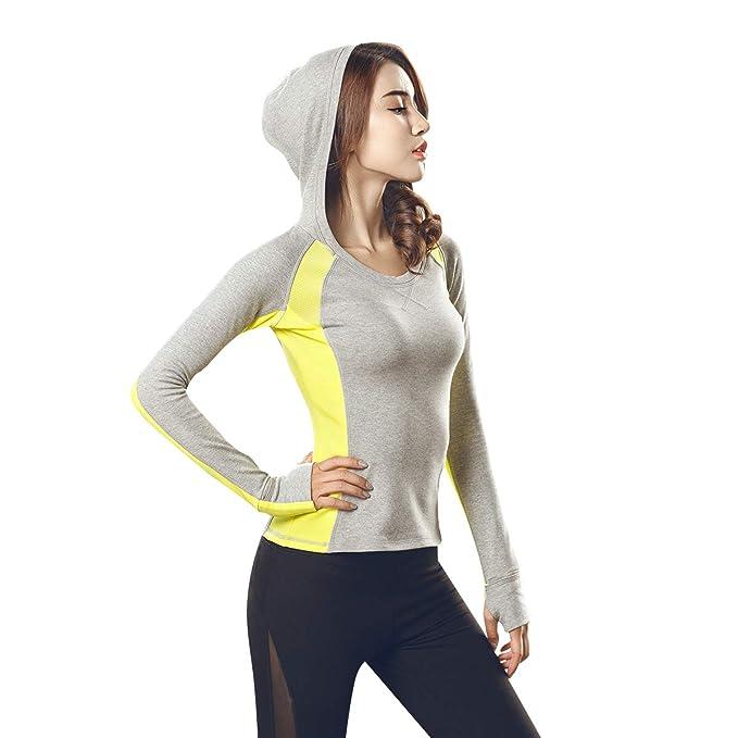 KSUA Camisa de Yoga de Manga Larga para Mujer Sudadera con ...