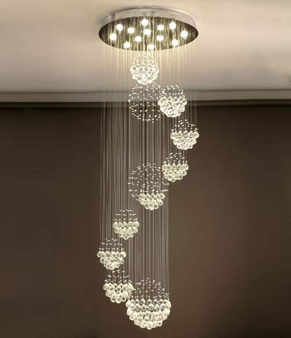 Moooni Modern Large 11 Sphere Spiral Crystal Chandelier Luxury Rain Drop Flush Mount Led Ceiling Light Fixture for Entryway Foyer Staircase W 31.5 x H 86.6