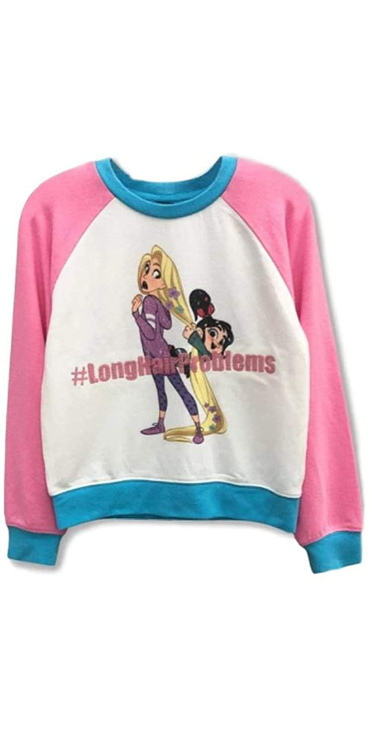 White//Turquoise L 10//12 by Girls Wreck-It Ralph Raglan Pullover Sweater