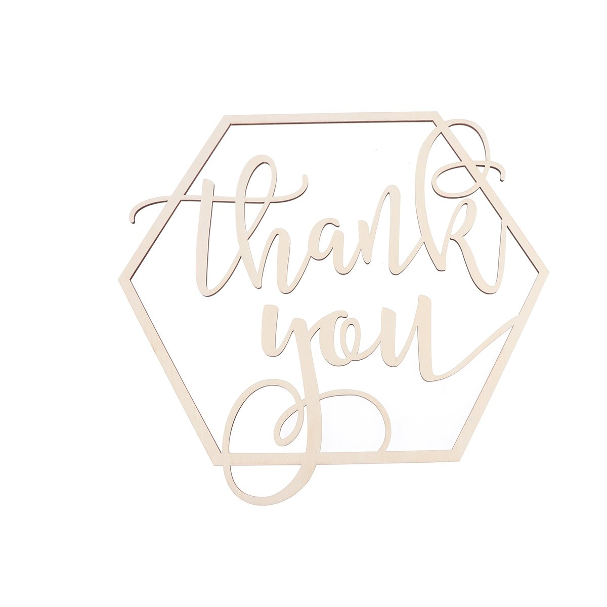 BESTOYARD Hexagon Wedding Thank You Sign Photo Prop Wooden Photography Sign Wedding Party Decoration