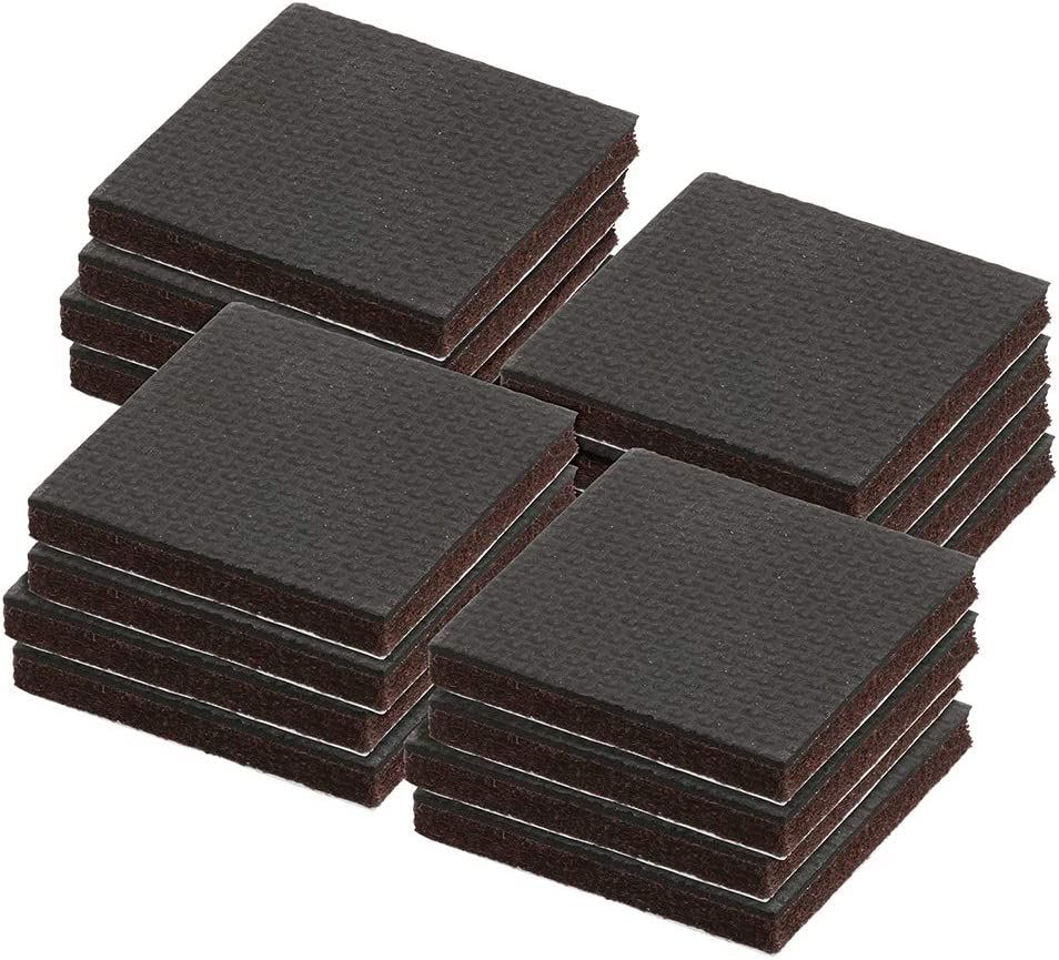 Prime-Line MP76725 Heavy-Duty Non-Slip Furniture Pads, 1/4 in. Thick x 2 in. x 2 in. Squares, Self-Adhesive Backing, Brown Felt w/Black Rubber, Pack of 16