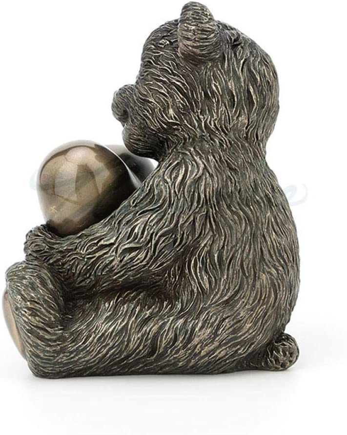 DSZXHN Statues for Home Decor,Creative Nordic Cute Copper Bear and Heart Animal Figurines Sculpture,Home Crafts Art Décor Statuettes for Indoor Living Room Office