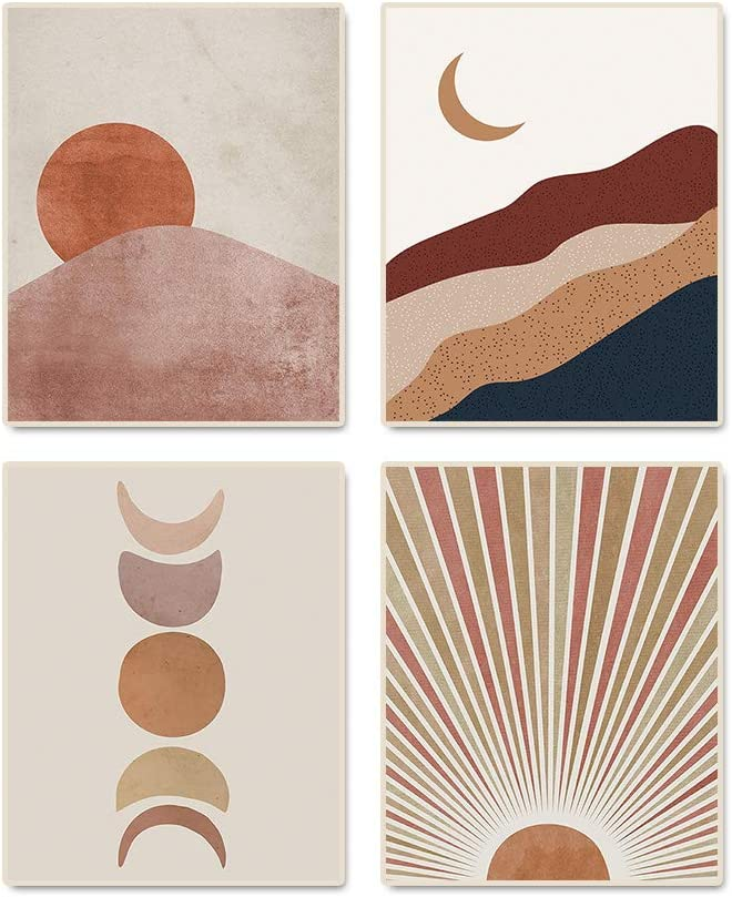 """Abstract Art Sun And Moon Art Painting Wall Decor Set of 4 (8""""X10"""" Canvas Picture) Terracotta Mid Century Modern Boho Themed Art Prints for Living Room Bedroom Wall Decorations,No Frame"""