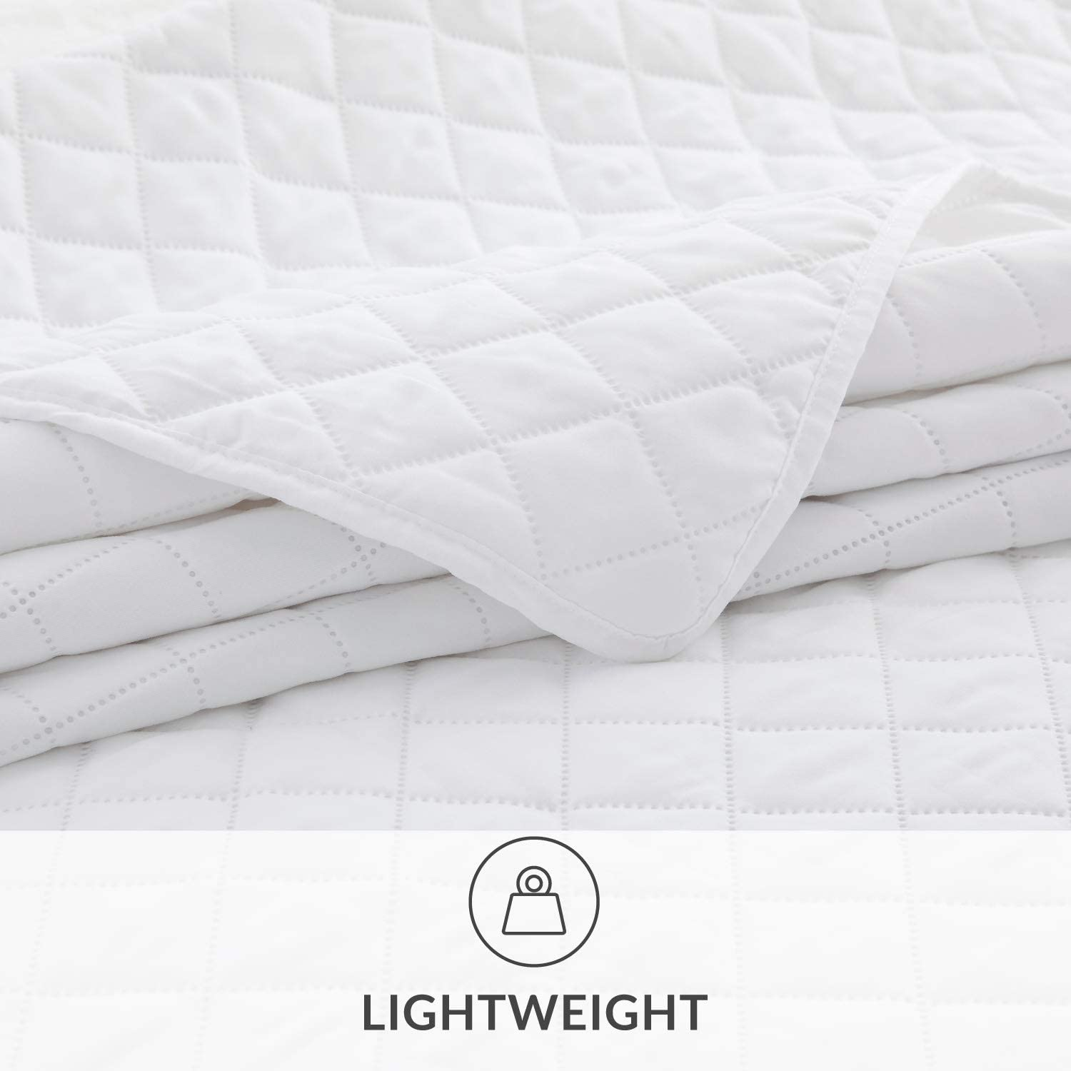 Bedsure Quilt Set White King Size (106x96 inches) - Diamond Stitched Pattern - Soft Microfiber Lightweight Coverlet Bedspread for All Season - 3 Piece Reversible (Includes 1 Quilt, 2 Shams)