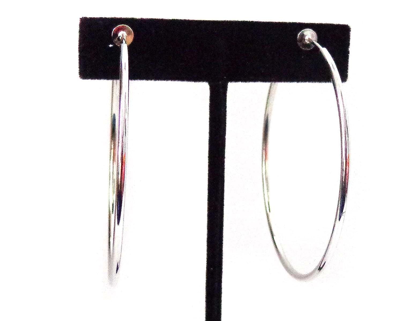 Clip-on Earrings Silver Tone Steel Hoop Earrings Simple Thin 2 inch Hoop NA