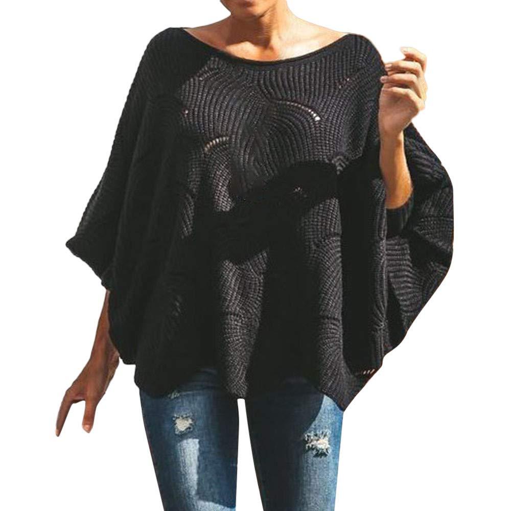 Damen Pullover Strickpullover Hohl Strickpulli Sweatshirt Loose Casual Langarmshirt Bluse Tops Rundhals Asymmetrisch, Schwarz Weiß . Saihui PUL-006