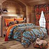 20 Lakes Luxurious Microfiber Powder Blue & Orange Camo Comforter & Sheet Set Bed in a Bag - Full