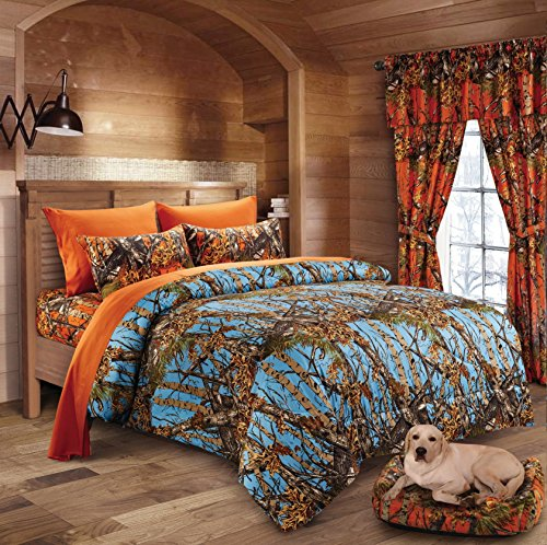 20 Lakes Luxurious Microfiber Powder Blue & Orange Camo Comforter & Sheet Set Bed in a Bag - Cal King