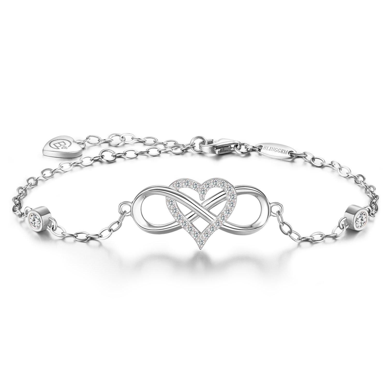 "BlingGem Together forever"" Bracelet Love 925 Sterling Silver Infinity Heart Cubic Zirconia Bracelet Jewelry for Women Ideal Gift (White gold)"