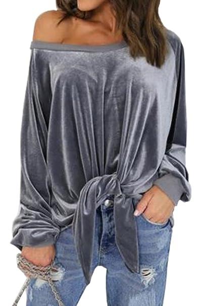 Yeesea Mujeres Off Shoulder Camisetas Manga Larga Blusas Terciopelo Sin Tirantes Camisas Shirt Gris Small