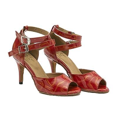 Womens Imprimé Chaussures De Danse Latine Cuir Fond Mou High Heels Salsa Tango Chaussures De Danse Sociale Chaussures et Sacs Chaussures