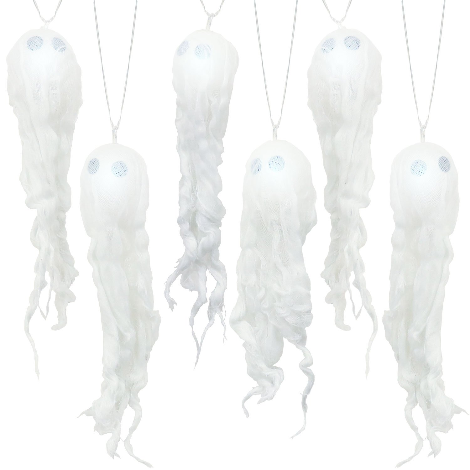 Halloween Haunters Light-Up LED Hanging Ghost Garland String Lights Prop Decoration Party Décor