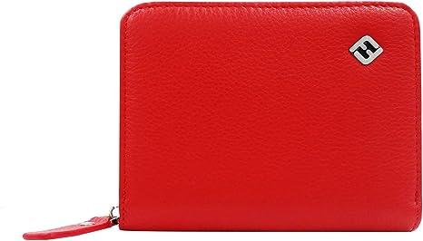 Damen Geldbörse Leder Geldbeutel Portemonnaie Geldtasche Frauen rot schwarz NEU