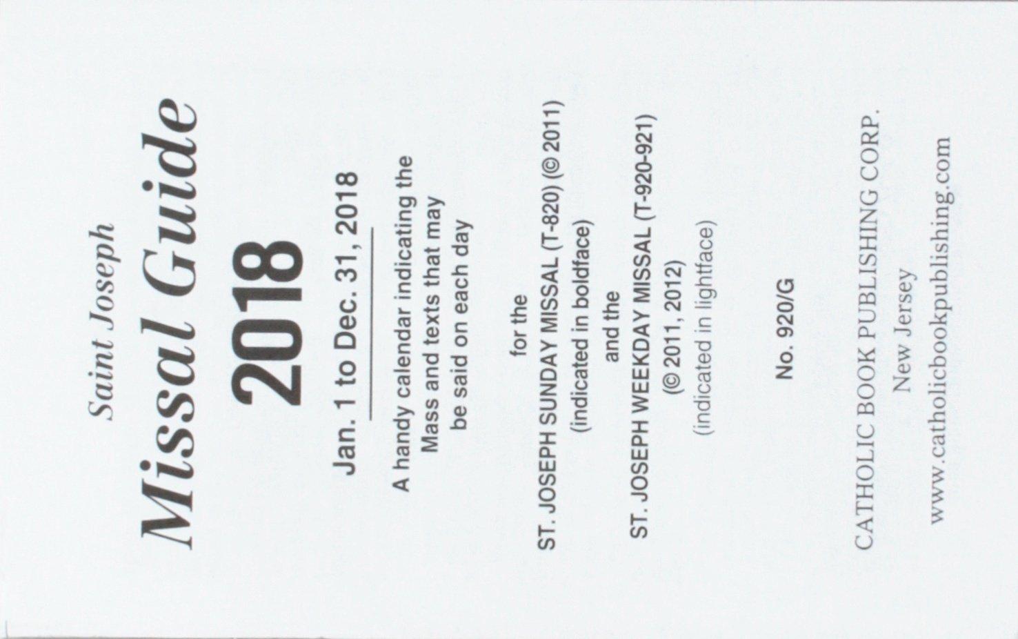 St. Joseph: St. Joseph Annual Missal Guide for 2018: International  Commission on English in the Liturgy: 9781941243893: Amazon.com: Books