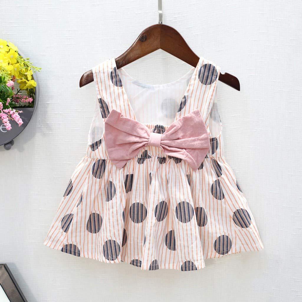 Tyoby Baby M/ädchen Polka Dot Bogen Weste Shorts zweiteilig,Sommer S/ü/ßer Kleidungssatz