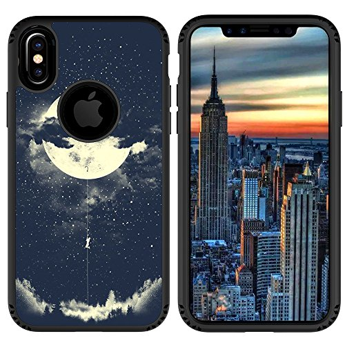 iPhone X Case, UrSpeedtekLive Shockproof Slim Corner Protection with Resilient Shock Absorption Rubber Protective Case Cover for Apple iPhone X, Night Sky