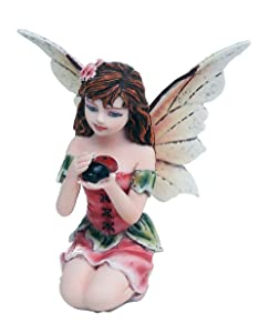 Pacific Giftware Fairy Garden Flower Fairy with Ladybug Decorative Mini Garden of Enchantment Figurine 3 Inch