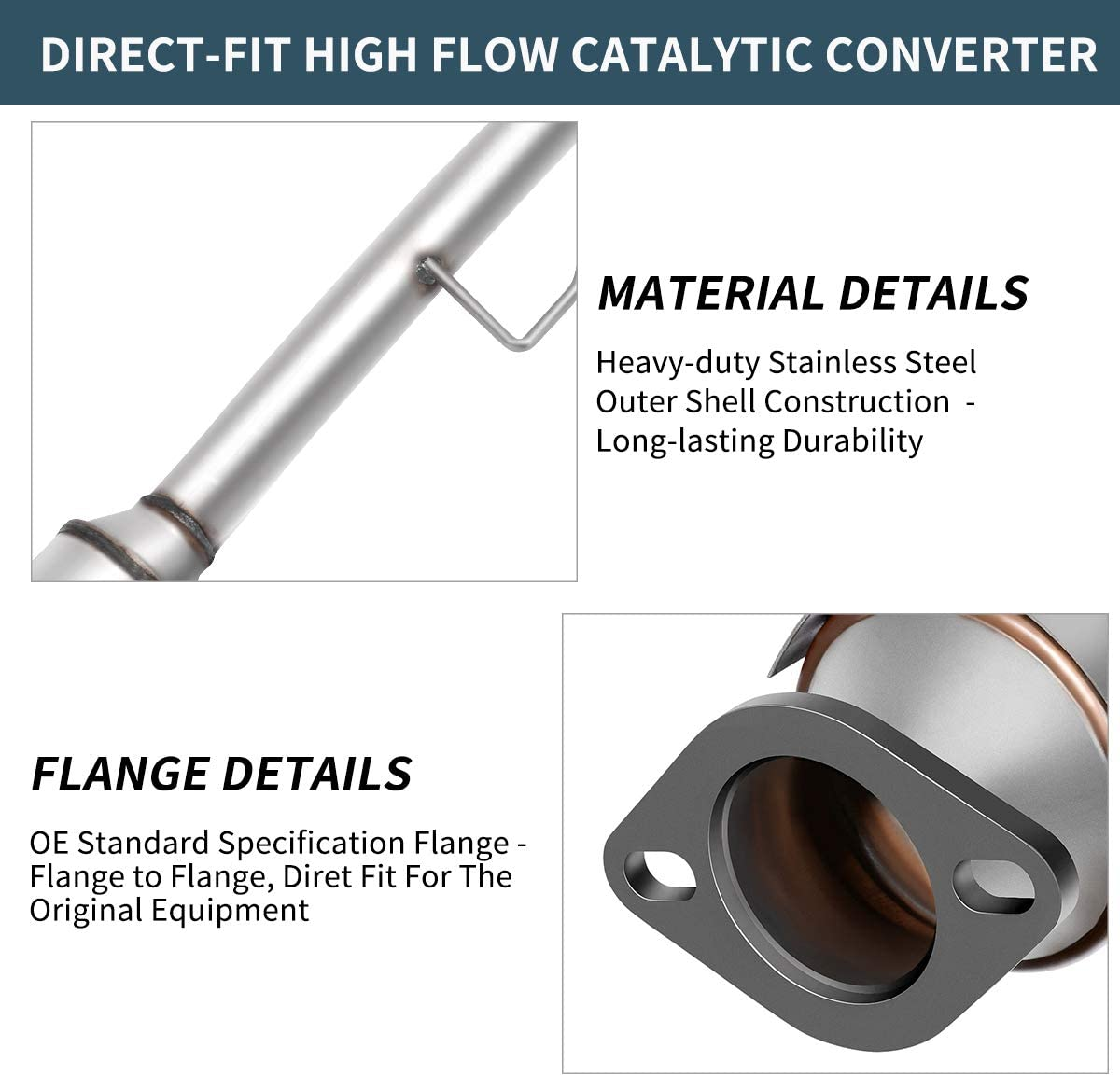 Direct-Fit Stainless Steel High Flow Series Maxiii Catalytic Converter for 2002-2006 Toyota Camry//Solara 2.4L EPA Approved