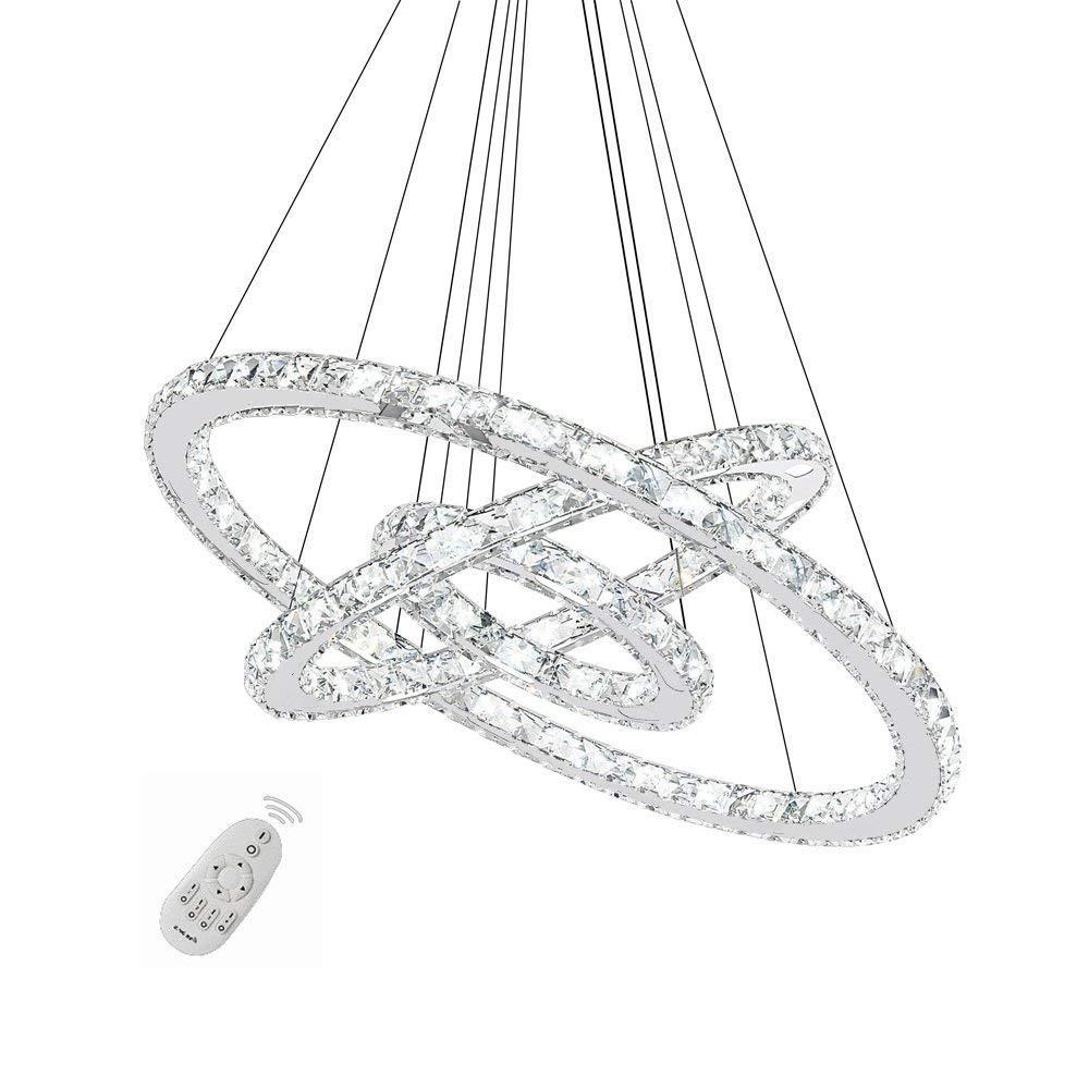 96W LED Kristall Design Hängelampe Deckenlampe Pendelleuchte Kreative Kronleuchter Drei Ringe Dimmbar Lüster (96W Dimmbar)