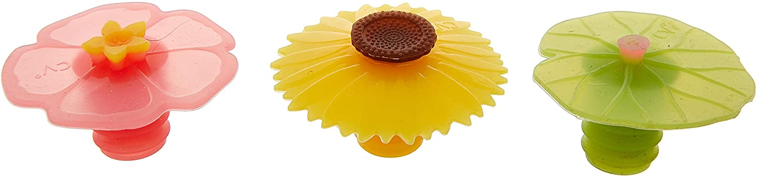 Charles Viancin Wine Bottle Stopper-Lily Pad, Sunflower & Hibiscus