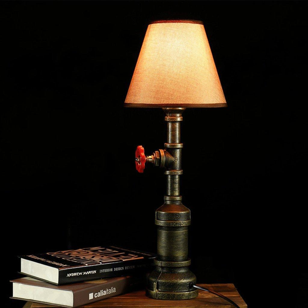 Water Pipes Table Lamp, Creative Decorative Desk Lamp, Bedroom Bedside Lamp, Bronze Light Body, Retro Edison Bulb, Push Button Switch