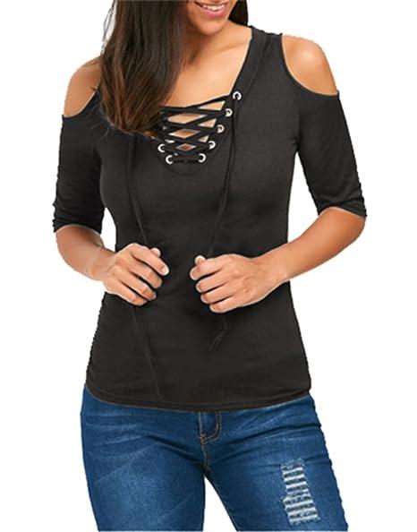 0eaa694d326c3 ONLYSHE Ladies Tops T-Shirts Bandage Summer Clod Shoulder Bodycon Blouse  Shirt Dark Grey Large at Amazon Women s Clothing store