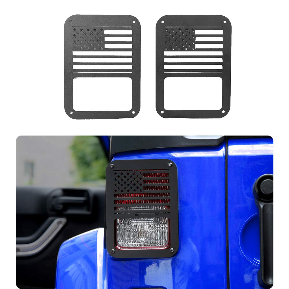 JeCar Tail Light Cover,Black Rear Taillight Guards Protector for Rear Taillights 2007-2017 Jeep Wrangler JK Unlimited Accessories
